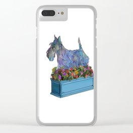 Animals in Gardens: Scotty in a Flower Box Clear iPhone Case