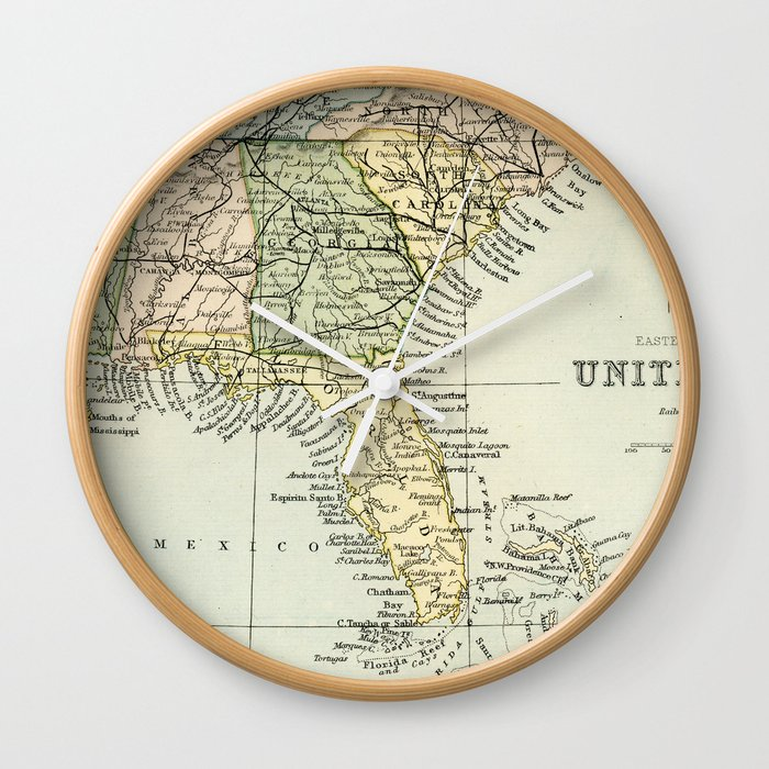 Vintage Map of the South Of The United States Of America Wall Clock by  graphikz