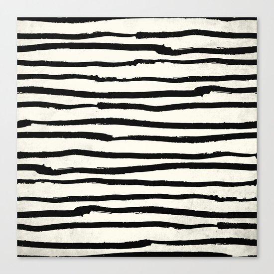 Tribal Stripes Black Earth on Ivory Cream Canvas Print