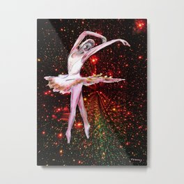 Cosmic Dancer , female figure dance art and stars Metal Print