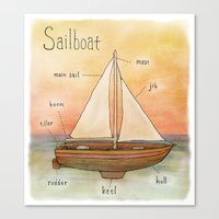 sailboat Canvas Prints featuring Sailboat by let's build a boat