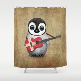 Baby Penguin Playing Danish Flag Acoustic Guitar Shower Curtain