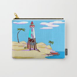 A Lighthouse on the Lazy, Sunny Beach with Palm Trees Carry-All Pouch