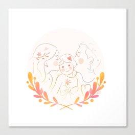 Family kiss sandwich Canvas Print