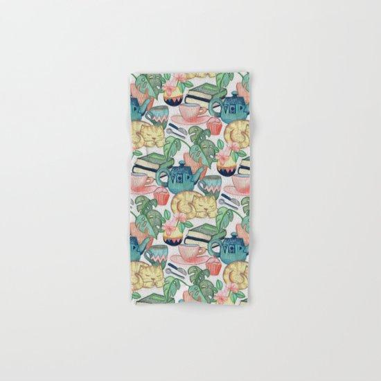 Lazy Afternoon - a chalk pastel illustration pattern Hand & Bath Towel