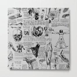 Da Vinci's Anatomy Sketchbook // Silver Metal Print
