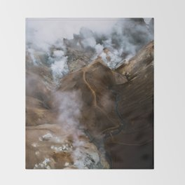 Kerlingarfjöll mountain range in Iceland - Aerial Landscape Photography Throw Blanket
