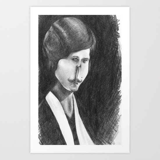 Victoriana Mustached Woman  Art Print