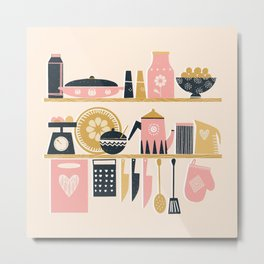 Colorful Cooking In A Mid Century Scandinavian Kitchen Metal Print