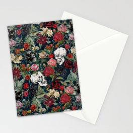 Distressed Floral with Skulls Pattern Stationery Cards
