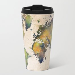 World Map green splash Travel Mug