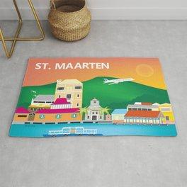 St. Maarten - Skyline Illustration by Loose Petals Rug