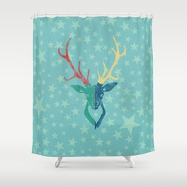Colorful Stag (Red, Yellow, Green, Blue) Shower Curtain