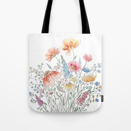 wild flower bouquet and blue bird- ink and watercolor 2 Tote Bag