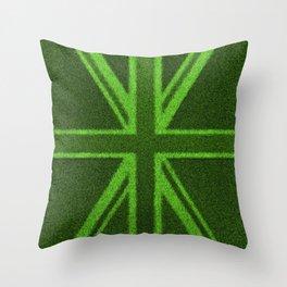 Grass Britain / 3D render of British flag grown from grass Throw Pillow