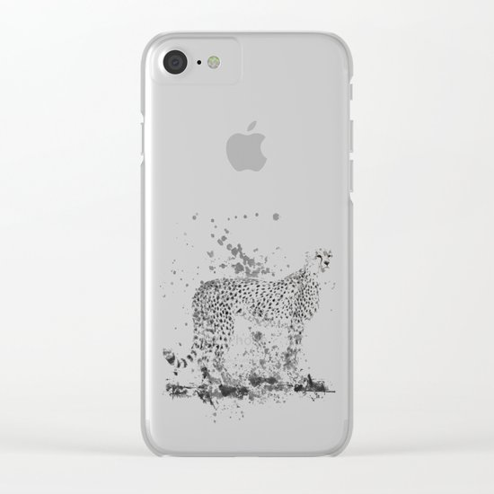 Cheetah in Black and White Clear iPhone Case