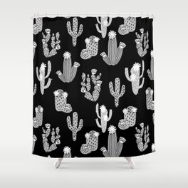 Cactus linocut black and white minimal desert southwest socal joshua tree Shower Curtain