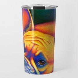 Colorful French Bulldog Rainbow Dog Pet Portrait Travel Mug