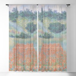 Poppy Field in a Hollow near Giverny Claude Monet Sheer Curtain