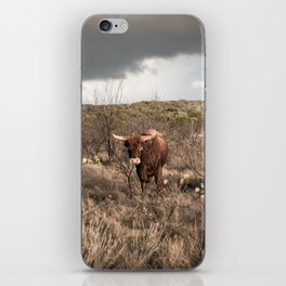 Stare Down - A Texas Bull in the Mesquite and Cactus iPhone Skin