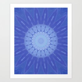 Icy Fractals Crystallize in Water Kaleidoscope Digital Painting Art Print