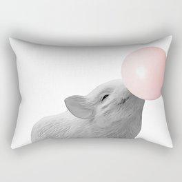 bubblegum baby pig b&w Rectangular Pillow