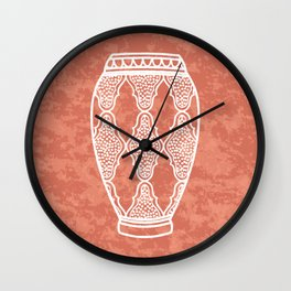 Moroccan vase illustration on terracotta plaster Wall Clock