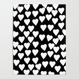 Hearts White on Black Poster