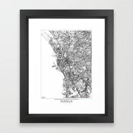 Manila Map White Framed Art Print