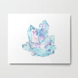 Pink Blue Crystal Cluster Metal Print