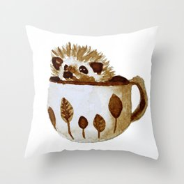 Hedgehog in a Cup Painted with Coffee Throw Pillow