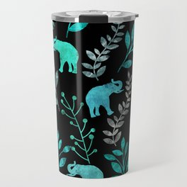 Watercolor Flowers & Elephants IV Travel Mug