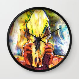 Ollie with a Skull Wall Clock