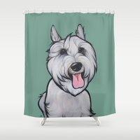 levi Shower Curtains featuring Levi the Miniature Schnauzer by Pawblo Picasso