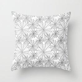 Spider web on white Throw Pillow