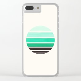 Teal Turquoise Minimalist Mid Century Modern Watercolor Stripes Sunset Circle Abstract Pattern Clear iPhone Case