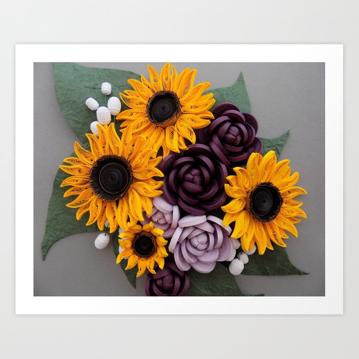 Sunflowers roses paper quilled flowers art print by wondercraftshop sunflowers roses paper quilled flowers art print mightylinksfo