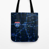 oklahoma Tote Bags featuring oklahoma map by Larsson Stevensem