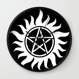 Anti Possesion Sigil White Wall Clock