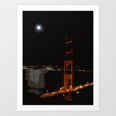Golden Gate at Night Art Print