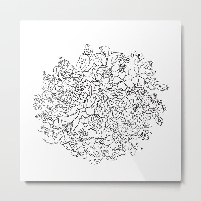decorative bouquet of flowers and leaves Metal Print