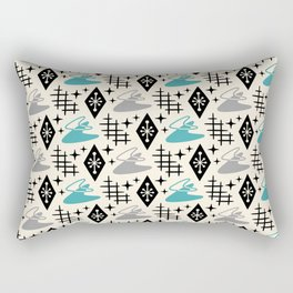 Mid Century Modern Boomerang Abstract Pattern Gray and Turquoise 161 Rectangular Pillow