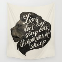 lions Wall Tapestries featuring Lions don't lose sleep over the opinions of sheep by Laura Graves