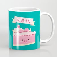 pie Mugs featuring Cute pie by Alice Wieckowska