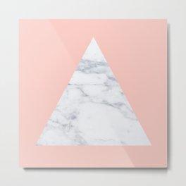 Blush marble triangle Metal Print