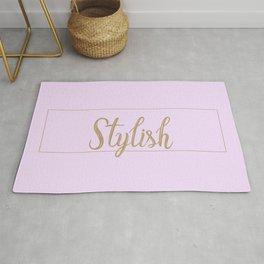 Stylish Baby Pink Typography Rug
