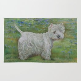 Westie on the meadow West Highland White Terrier Cute dog portrait on the landscape Pastel painting Rug