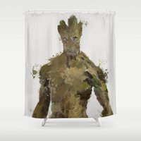 groot Shower Curtains featuring Groot by Scofield Designs