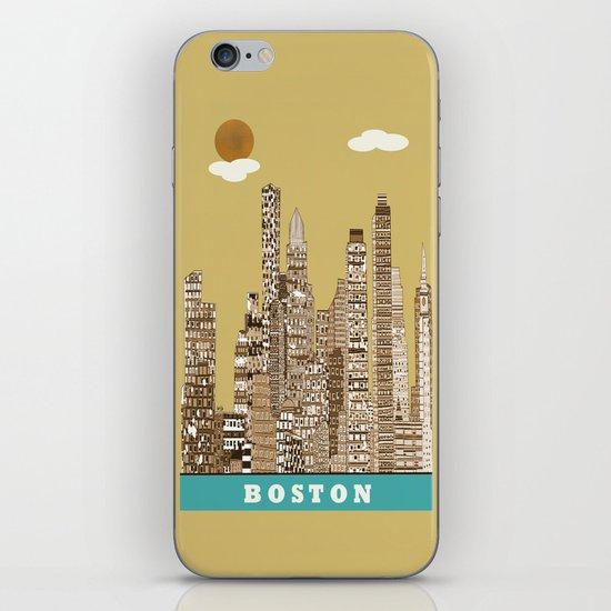 boston skyline vintage iPhone & iPod Skin