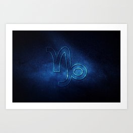 Capricorn zodiac sign, night sky,Horoscope Astrology background,Capricorn horoscope symbol, blue horoscope Art Print
